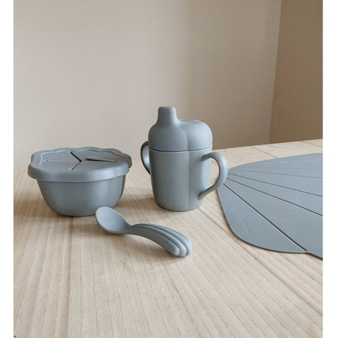Konges Slojd Silicone Clam Tableware Set - Blue