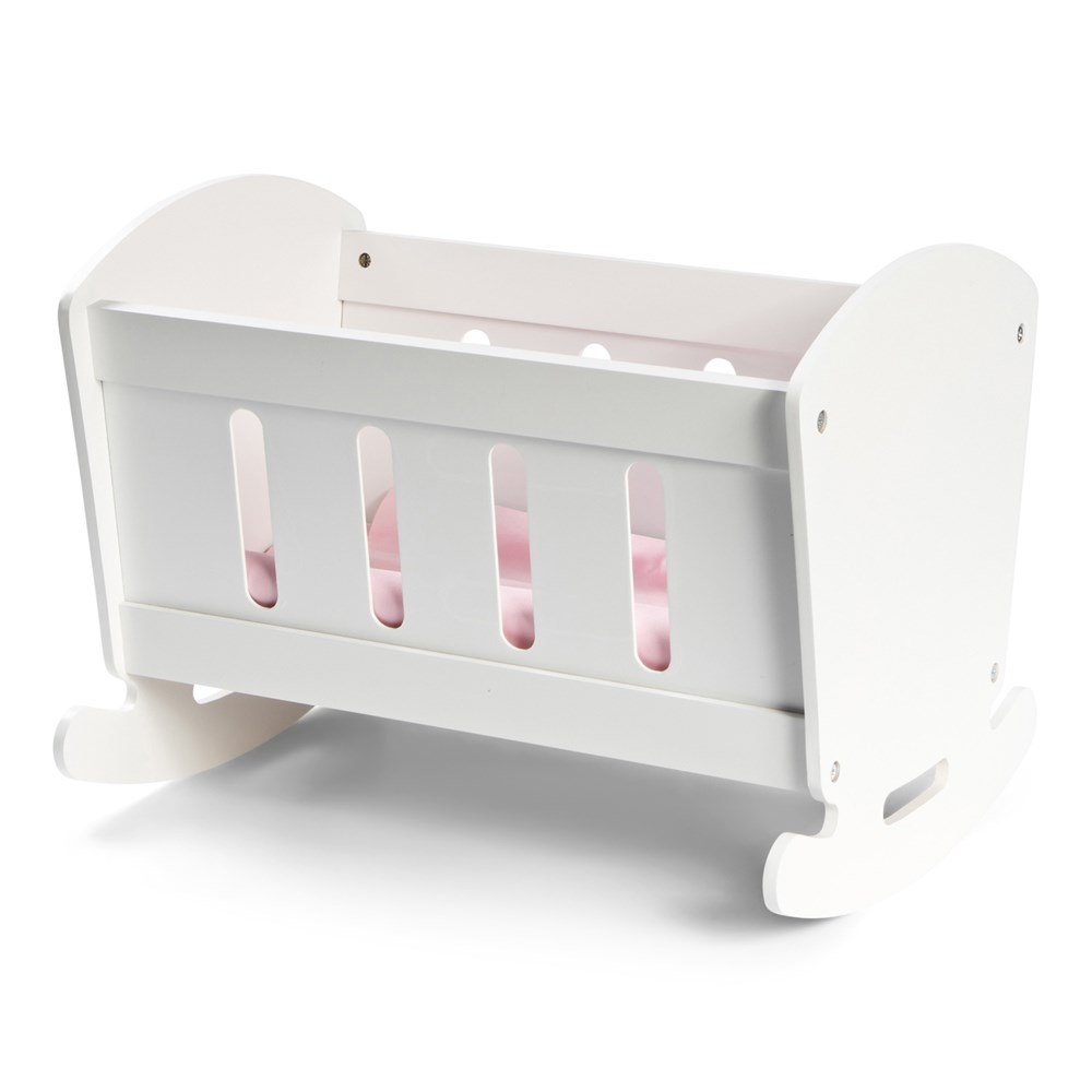 STOY Wooden Doll Cradle - White
