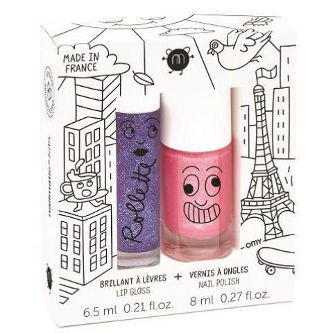 Nailmatic Natural Lip Gloss & Varnish Duo - Lovely City (Blackcurrant/Pink Glitter)