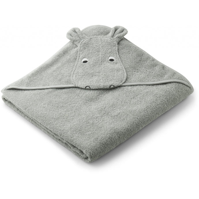 Liewood Organic Augusta Hooded Towel - Hippo Dove Blue