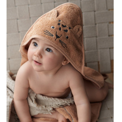Liewood Organic Albert Hooded Baby Towel - Leopard Apricot