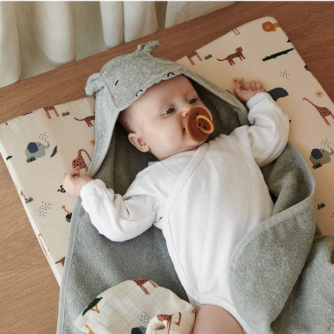 Liewood Organic Albert Hooded Baby Towel - Hippo Dove Blue