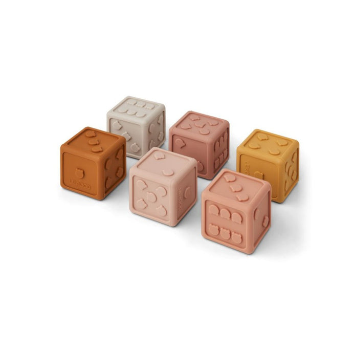 Liewood Gloria Silicone Dice - 6 Pack - Rose Multi Mix