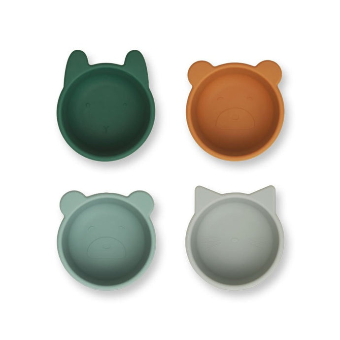 Liewood Malene Silicone Bowls - 4-Pack - Green Multi Mix