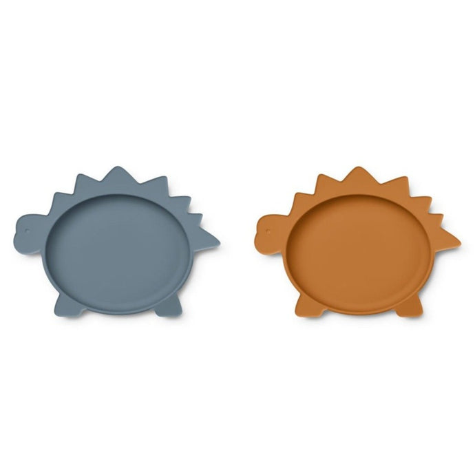 Liewood Olivia Silicone Plates - 2 Pack - Dino Blue Wave/Mustard Mix