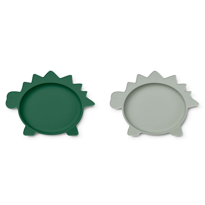 Liewood Olivia Silicone Plates - 2 Pack - Dino Garden Green/Dove Blue Mix
