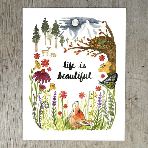 Life is Beautiful Art Print by Little Truths Studio