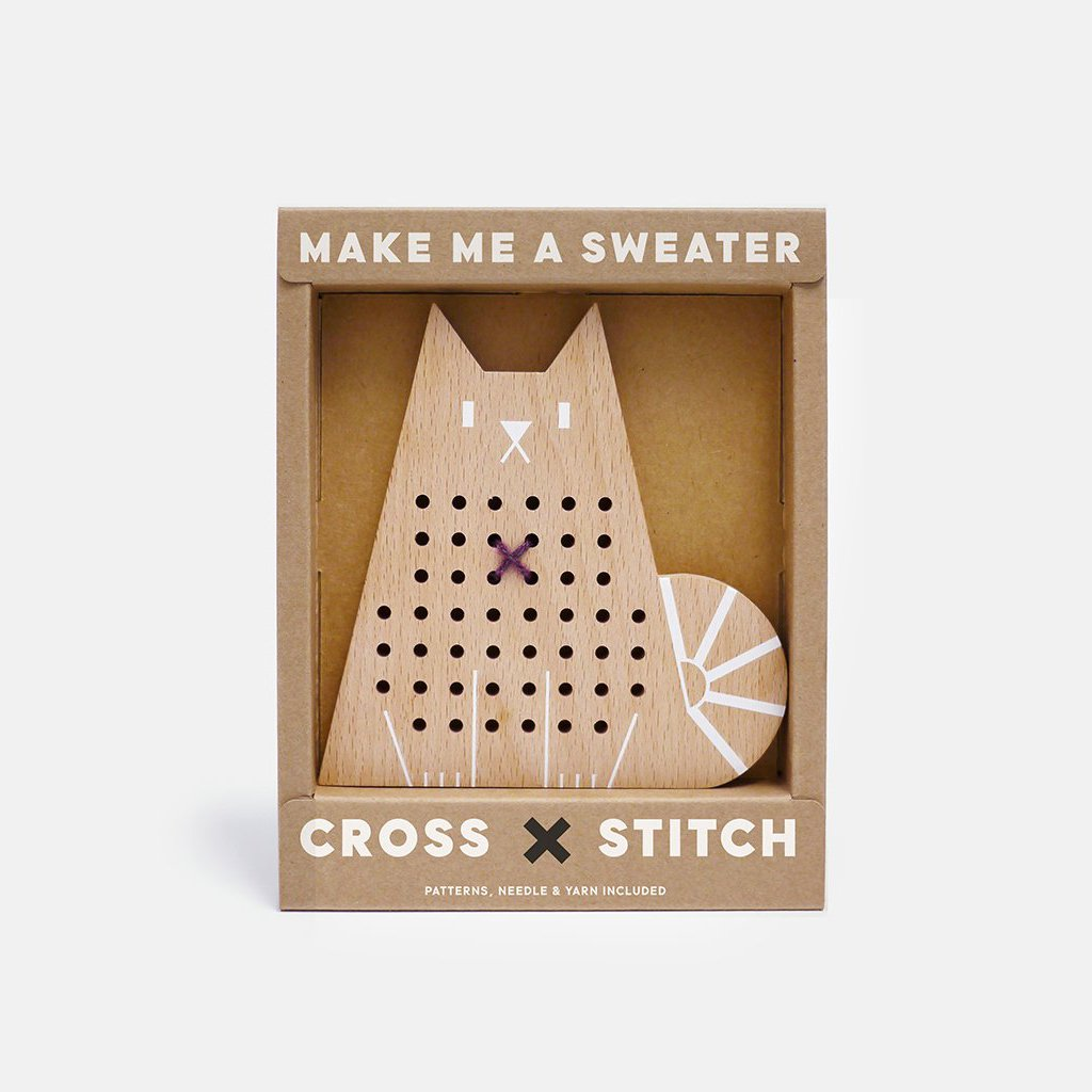 Wooden Cross Stitch Kit - Cat by Moon Picnic