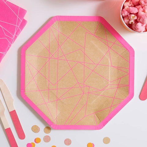 Paper Plates 8 Pack - Geometric Neon Pink By Ginger Ray