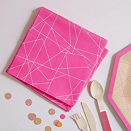 Paper Napkins 20 Pack - Geometric Neon Pink By Ginger Ray