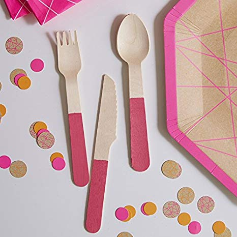 Wooden 18 Pce Cutlery Set - Neon Pink By Ginger Ray