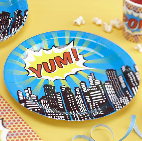 Paper Plates 8 Pack - Pop Art Superhero By Ginger Ray