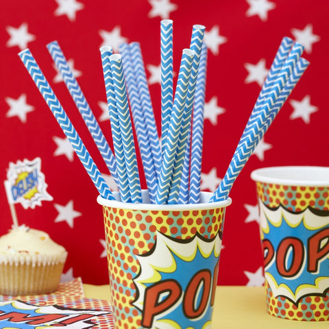 Paper Straws 25 Pack - Blue Chevrons By Ginger Ray