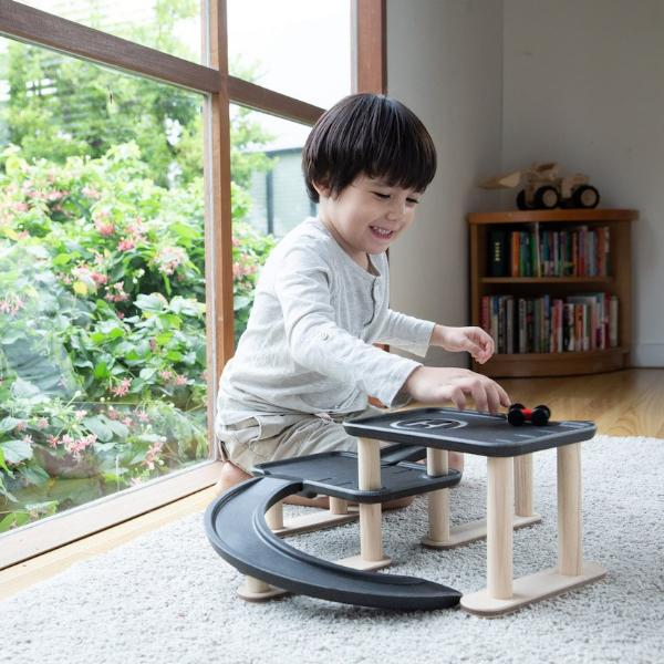 Plan Toys Wooden Race N Play Parking Garage