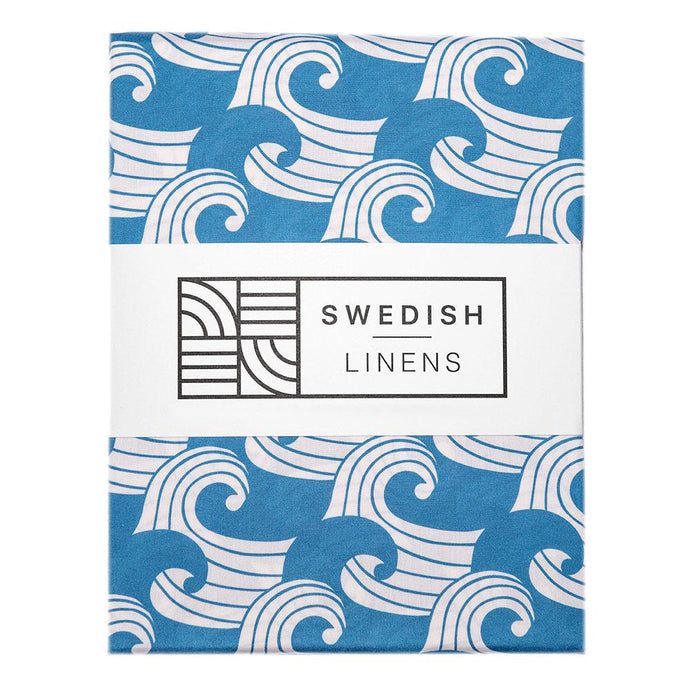 Swedish Linens Fitted Sheets - Waves Kyoto Blue (4 Sizes)