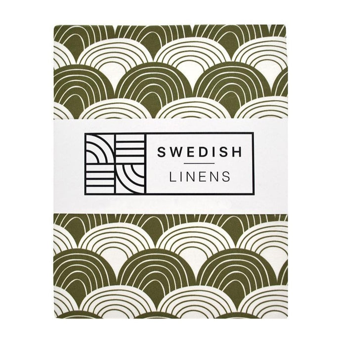 Swedish Linens Fitted Sheets - Rainbows Olive Green (4 Sizes)