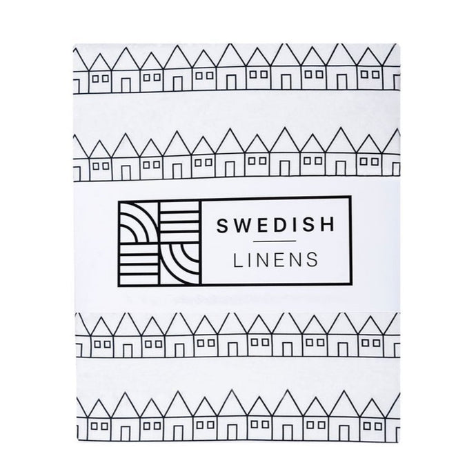 Swedish Linens Fitted Sheet - Lindbacken Black & White - 90 x 200cm