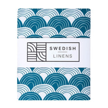 Swedish Linens Fitted Sheets - Rainbows Moroccan Blue (4 Sizes)