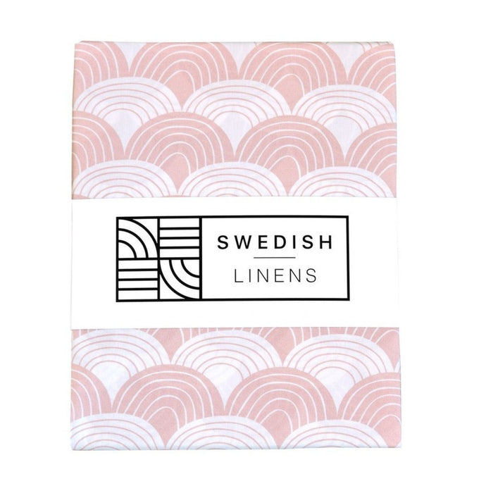 Swedish Linens Fitted Sheets - Rainbows Nudy Pink (4 Sizes)
