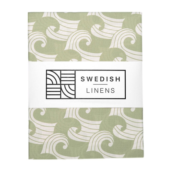 Swedish Linens Fitted Sheets - Waves Sage (4 Sizes)