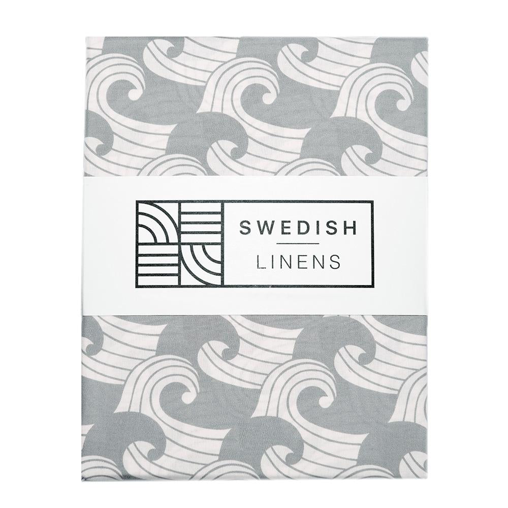 Swedish Linens Fitted Sheets - Waves Tranquil Grey (4 Sizes)