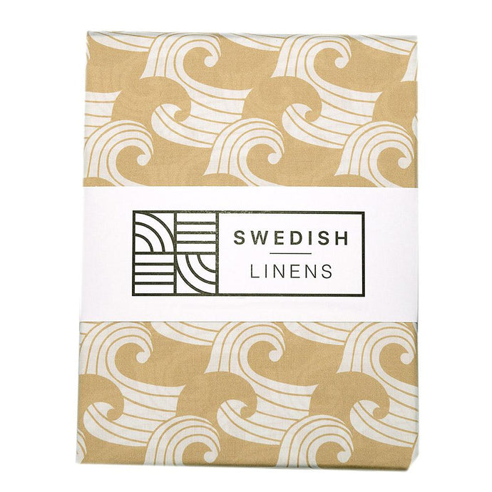 Swedish Linens Fitted Sheets - Waves Warm Sand (4 Sizes)