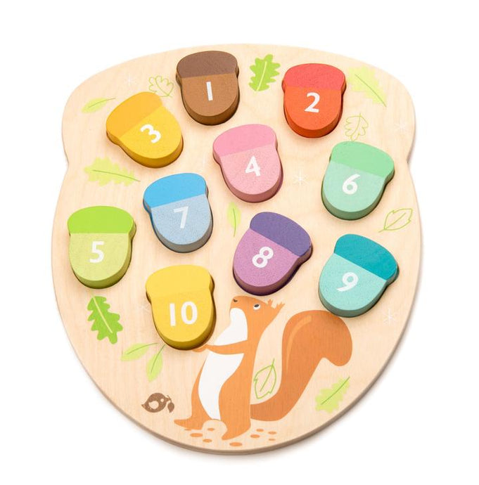 Tender Leaf Toys - How Many Acorns? Wooden Puzzle