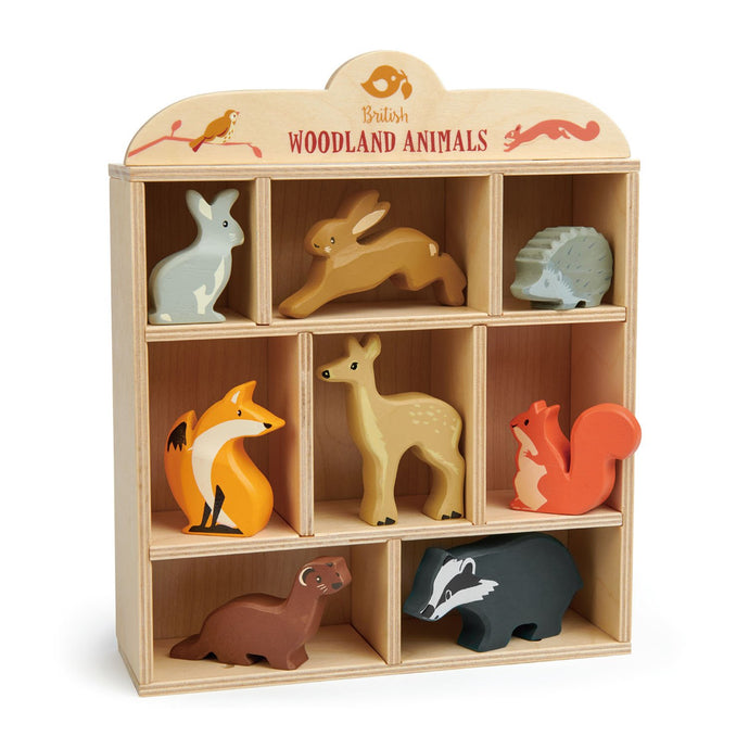 Tender Leaf Toys - 8 Wooden Woodland Animals & Shelf