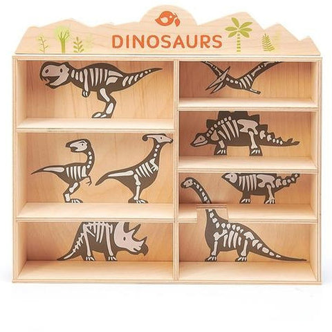 Tender Leaf Toys - 8 Wooden Dinosaurs & Shelf