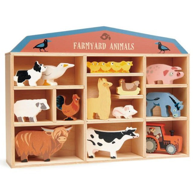 Tender Leaf Toys - 13 Wooden Farm Animals & Shelf