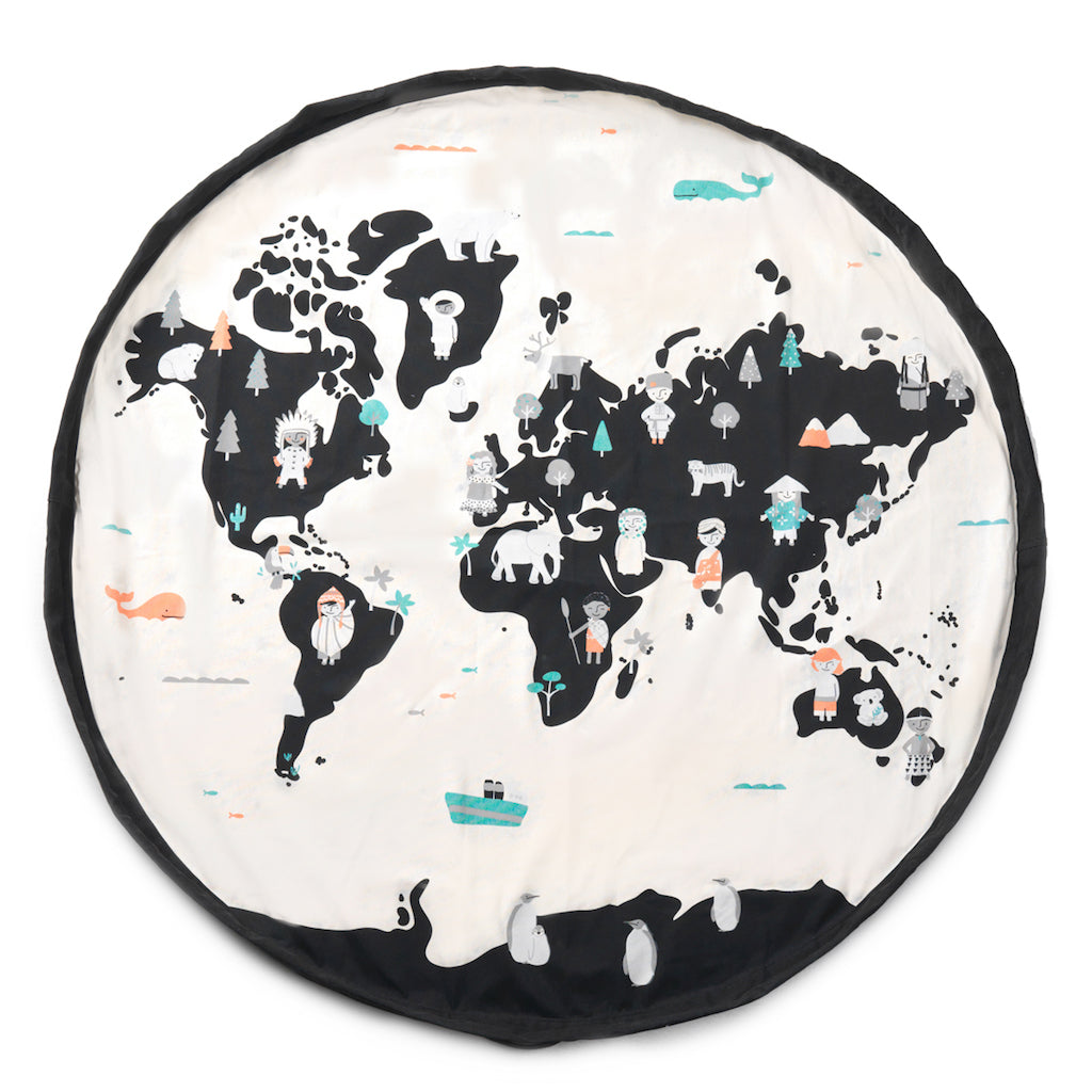 Play & Go World Map Reversible Toy Storage Bag | Soren's House