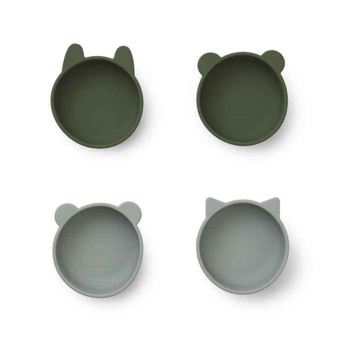 Liewood Iggy Silicone Bowls - 4 Pack - Hunter Green Mix