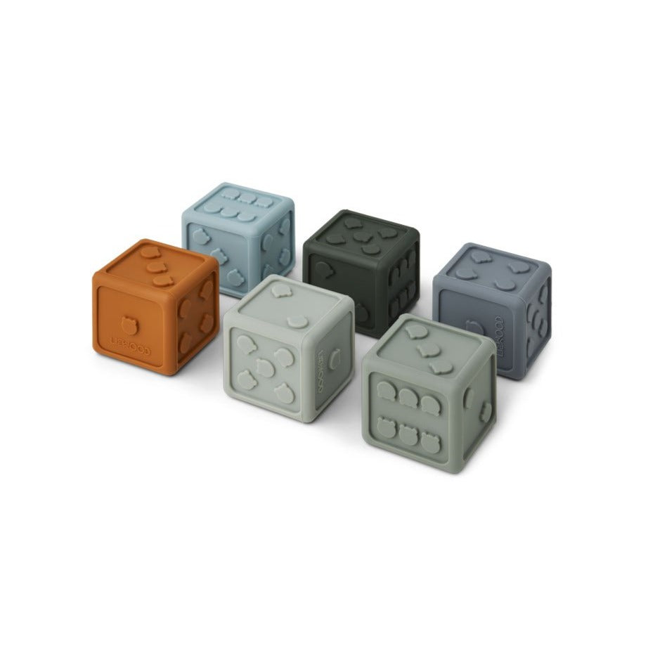 Liewood Gloria Silicone Dice - 6 Pack - Blue Multi Mix