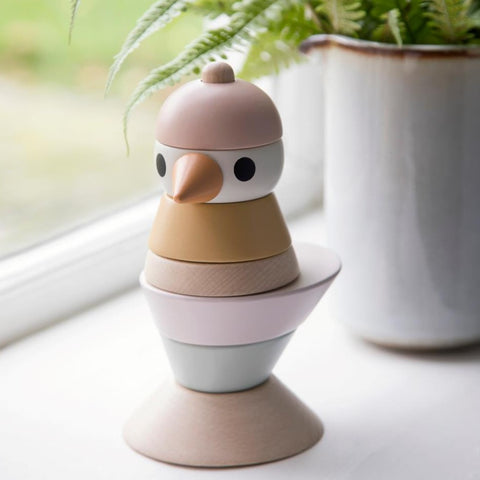 Sebra Wooden Stacking Bird - Cotton Candy Pink