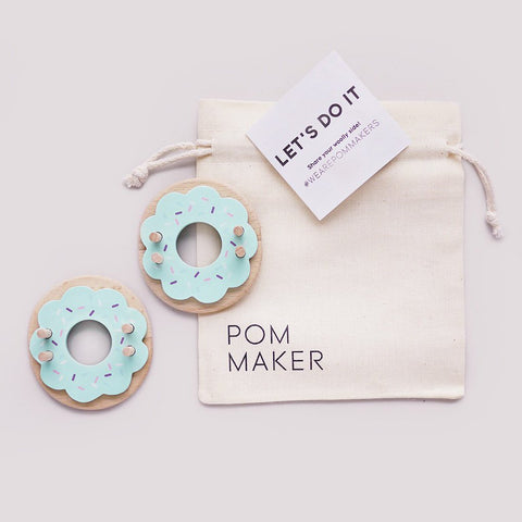Blue Frost Wooden Donut Pom Pom Maker by Pom Maker