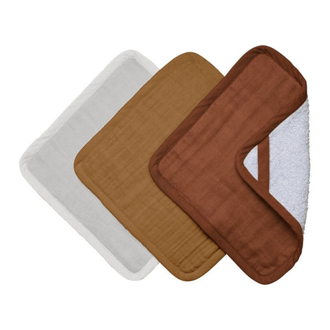 Fabelab Organic Washcloths - 3 Pack - Wood