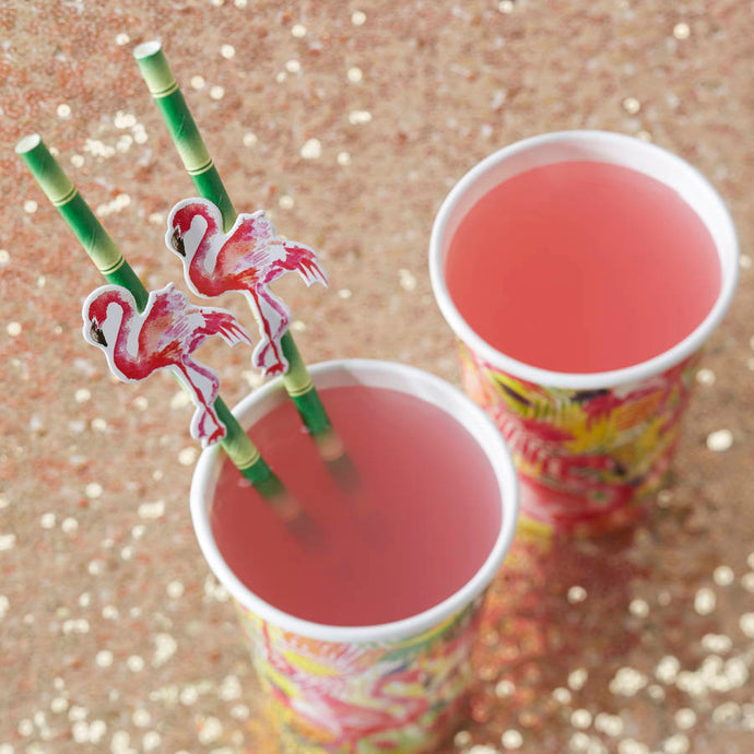 Paper Straws 20 Pack - Flamingo Fun By Ginger Ray