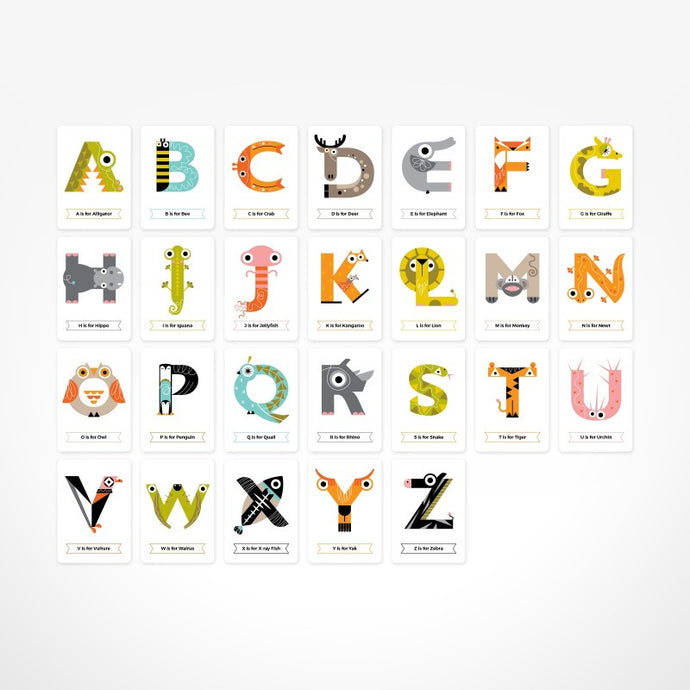 Baby & Children's Animal Alphabet Flash Cards by The Jam Tart