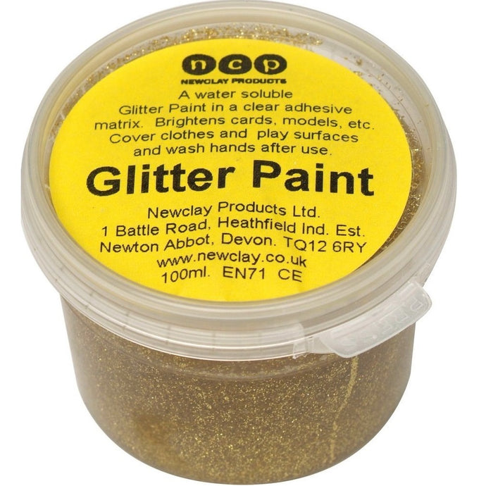 Newclay Glitter Paint 100ml Pot - Gold