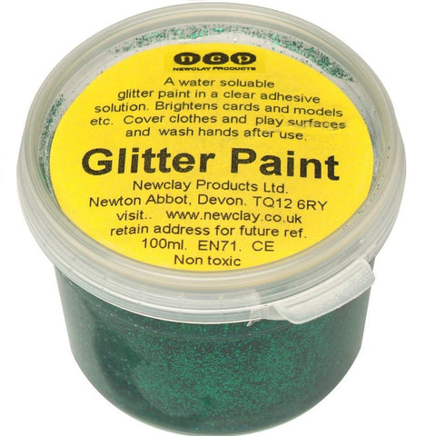 Newclay Glitter Paint 100ml Pot - Green