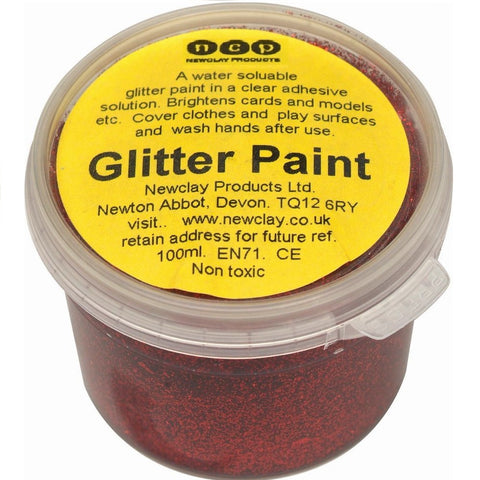 Newclay Glitter Paint 100ml Pot - Red | Soren's House