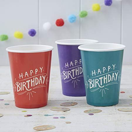 Paper Cups 8 Pack - 'Happy Birthday' Kraft By Ginger Ray