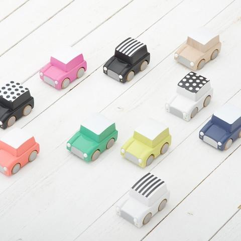 Kiko & GG Kuruma Classic Wooden Wind Up Car - White/Stripes