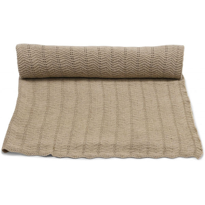 Konges Slojd Organic Pointelle Blanket - Brown Melange