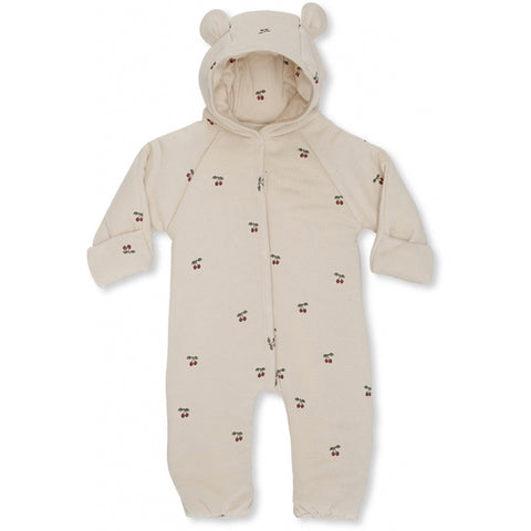 Konges Slojd Newborn Hooded Onesie - Cherry