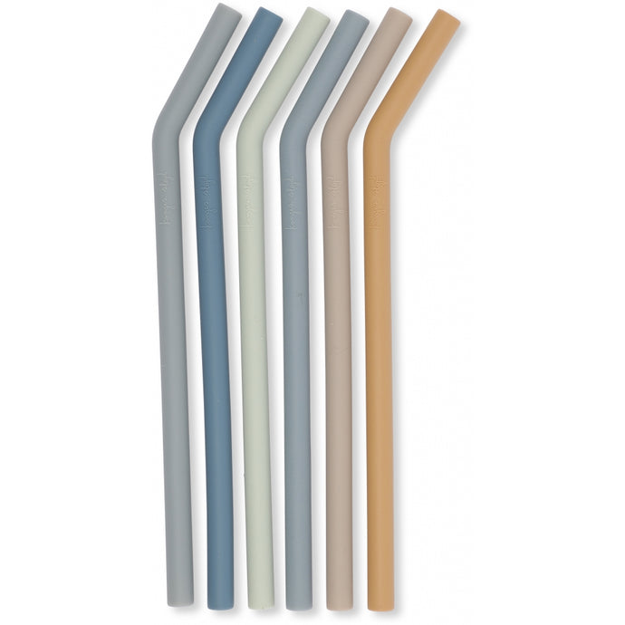 Konges Slojd Silicone Straws - 6 Pack - Blue Mix