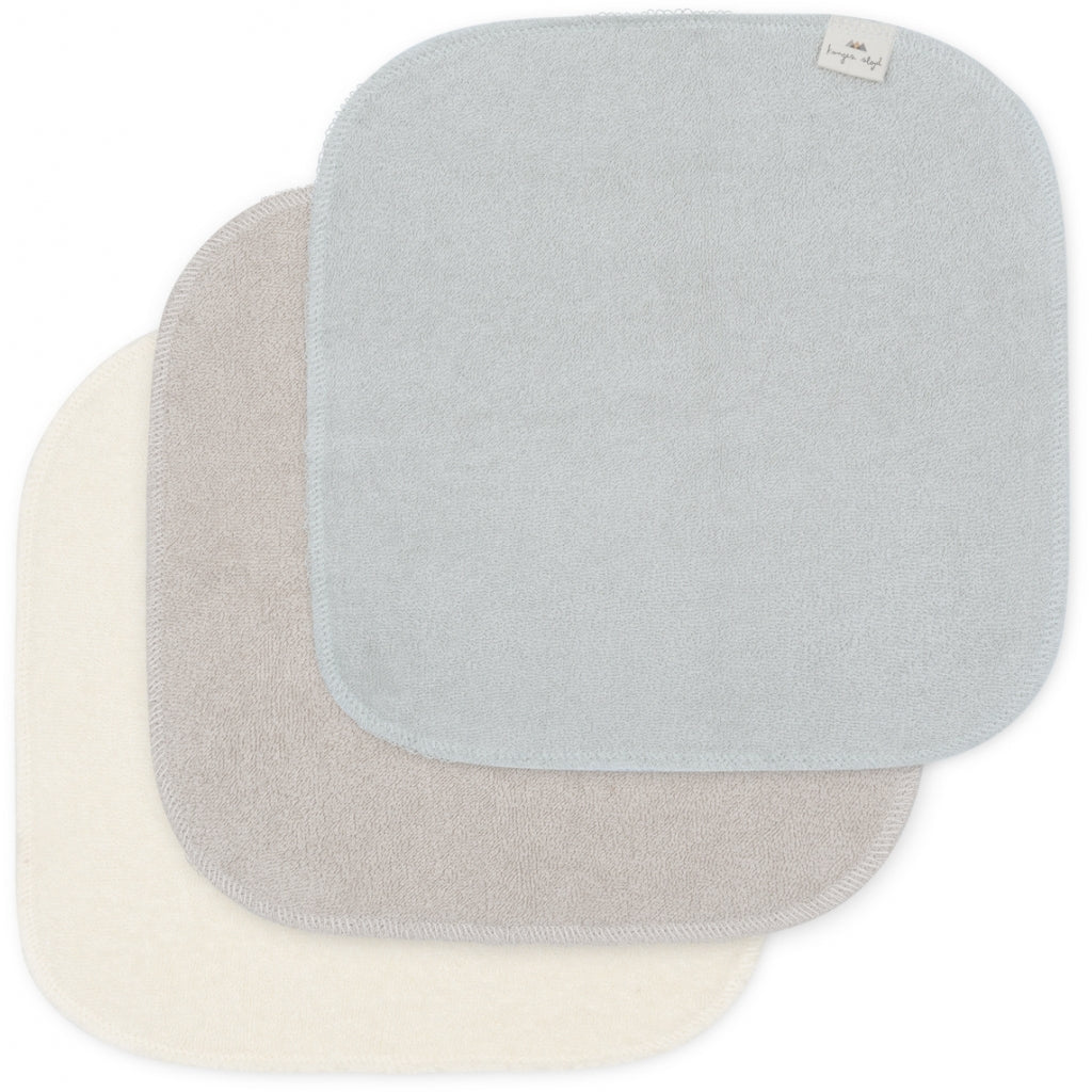 Konges Slojd 3 Pack Organic Terry Washcloths - Silver Lining