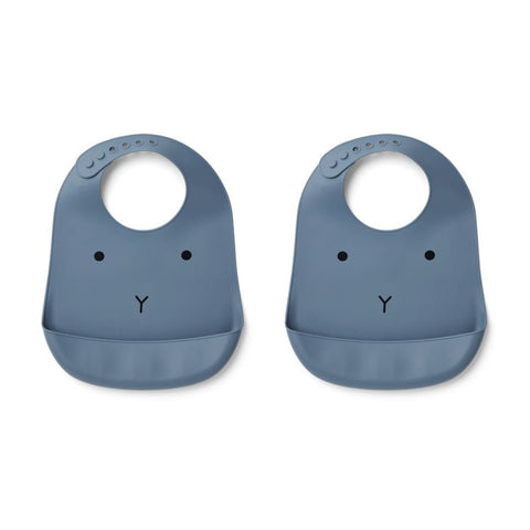 Liewood Tilda Silicone Bib 2-Pack - Rabbit Blue Wave
