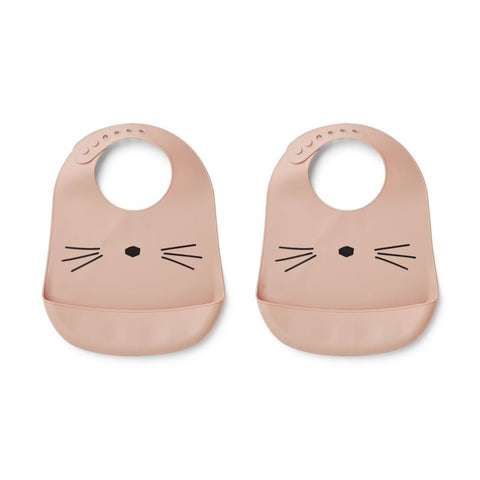 Liewood Tilda Silicone Bib 2-Pack - Cat Rose