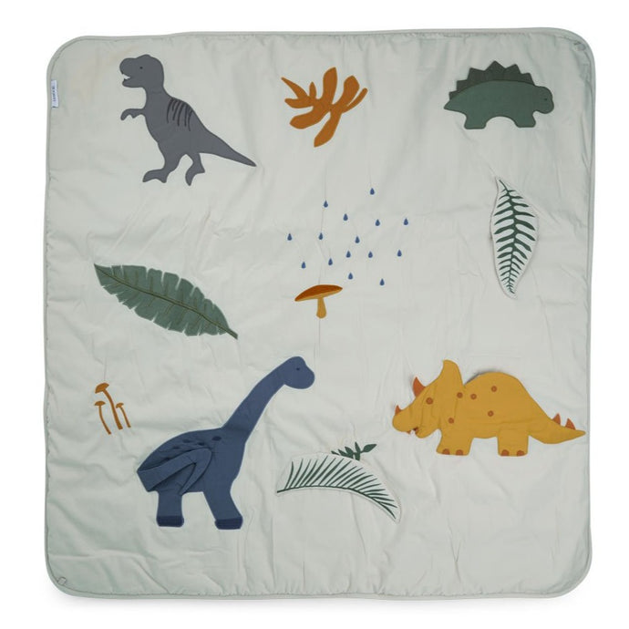 Liewood Organic Glenn Baby Activity Play Mat - Dino Dove Blue Mix